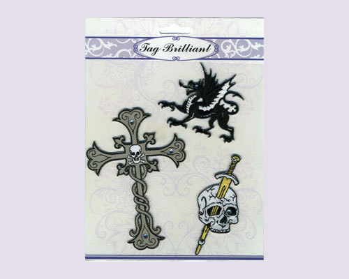 Cross & Skull Embroidered Stickers Pack