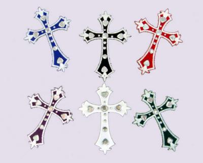 Cross Embroidered Stickers with Rhinestones