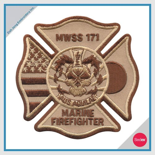 FIRE EMBROIDERY PATCH - MWSS 171 MARINE FIREFIGHTER