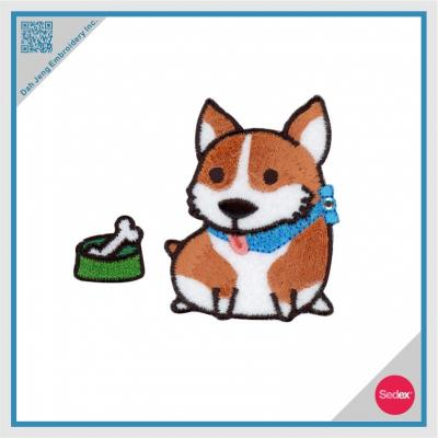 Embroidery with Rhinestone Sticker Set - Corgi dog with bone
