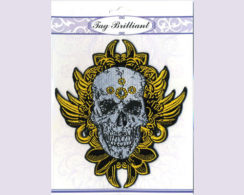 Skull Embroidered Sticker with Rhinestones